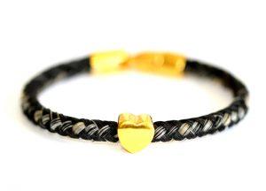 Armband aus Pferdehaaren mit Goldherz