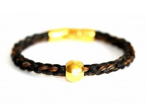 Armband aus Pferdeharren mit Goldperle