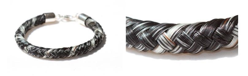 aus acht Strähnen um rundes Leder herum geflochten (rund)