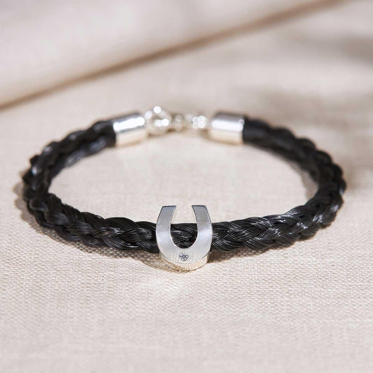 Pferdehaar-Armband mit Hufeisen-Perle