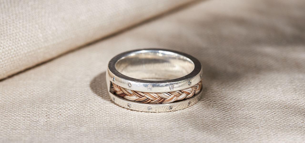 Pferdehaar-Ring mit Zirkonia